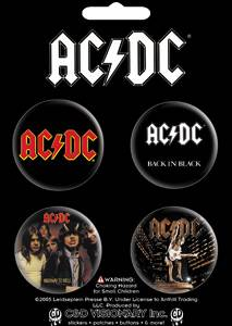 Rock and Roll Collectibles - AC/DC Heavy Metal Pinback Buttons - Angus Young, Bon Scott, Brian Johnson - Back in Black, Highway to Hell