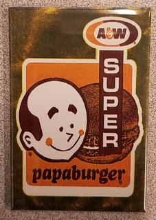 A & W Collectibles - Root Beer Advertising Super Papa Burger Metal Magnet