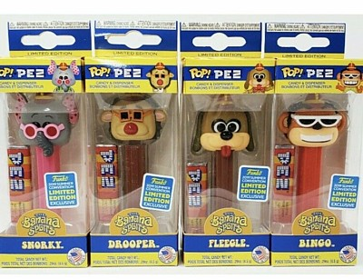 Hanna Barbera Collectibles - Banana Splits San Diego Comic Com Exclusive Snorky, Drooper, Fleagle, Bingo Pez by Funko
