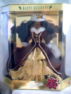 1996 Happy Holidays Barbie African American - Black