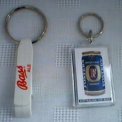 Beer Collectibles - Bass Ale and Fosters Lager Keychains