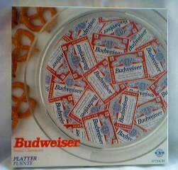 Budweiser Advertising Collectibles - Bud Glass Platter Tray