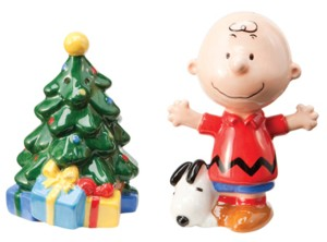 Snoopy and Peanuts Collectibles - Charlie Brown and Christmas Tree Salt and Pepper Shakers