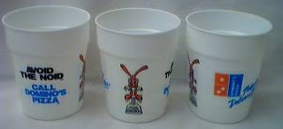 Fast Food Collectibles - Dominos Pizza Avoid the Noid Plastic Cups