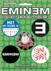 Rap Music Collectibles - Eminem, Marshall Mathers, Slim Shady, D-12 Pinback Buttons