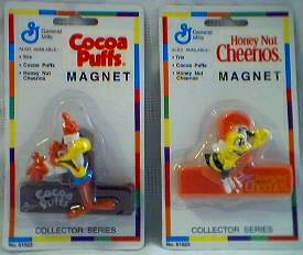 General Mills Cereal Collectibles - Sonny the Cuckoo Bird - Cocoa Puffs and Honey Cheerie Bee Magnetic Bag Clips