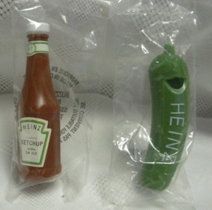 Advertising Collectibles - Heinz Ketchup Bottle and Pickle Whistles