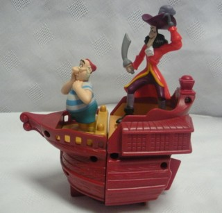 Walt Disney Movie Collectibles - Peter Pan Hook Boat Toy with Captain Hook & Smee