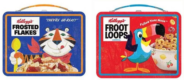 Kellogg's Collectibles - Toucan Sam Fruit Loops and Tony the Tiger Frosted Flakes Metal Lunch Box Tins