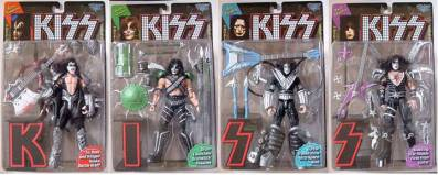 KISS Collectibles - KISS McFarlane Ultra Action Figures, Gene Simmons, Paul Stanley, Ace Frehley, Peter Criss Series 1 with Letter Base Stands