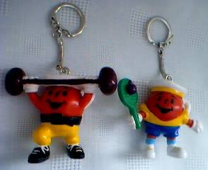 Advertising Collectibles - KoolAid - KoolAid Man Keychains - Tennis - Weightlifter