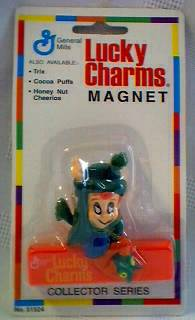 General Mills Cereal Collectibles - Lucky Charms Lucky The Leprechaun Magnetic Bag Clips