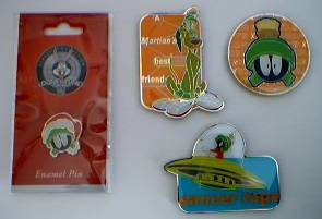 Looney Tunes Collectibles - Marvin the Martian and K-9 Magnets and Tie Tack Pin