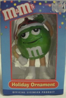 Advertising Collectibles - M & M Green Christmas Ornament - Santa Hat