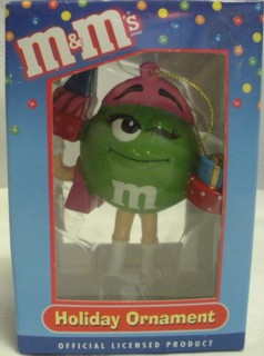 Advertising Collectibles - M & M Green Christmas Ornament - Shopping