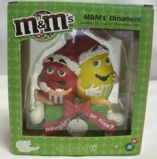Advertising Collectibles - M & M Red & Yellow Christmas Ornament