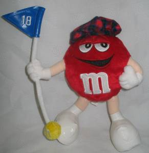 Advertising Collectibles - M & M Dispenser - Red Plush Golfer