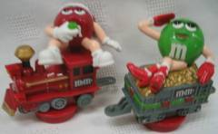 Advertising Collectibles - M & M Red and Green Train Candy Toppers