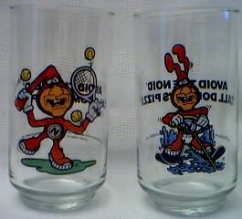 Fast Food Collectibles - Dominos Pizza Avoid the Noid Glasses