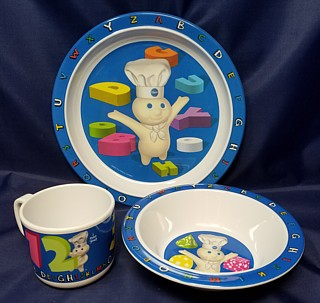 Pillsbury Collectibles - Poppin' Fresh Dough Boy Plastic Dishes Bowl,Plate and Cup