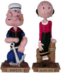 Popeye Collectibles - Popeye and Olive Oyl Wacky Wobbler Bobble head Dolls, Nodder