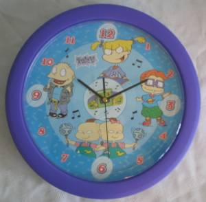 Nickelodeon Cartoon Television Character Collectibles - Rugrats Talking Wall Clock