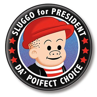 Cartoon and Comic Strip Character Collectibles - Nancy and Sluggo - Sluggo for President Metal Pinback Button