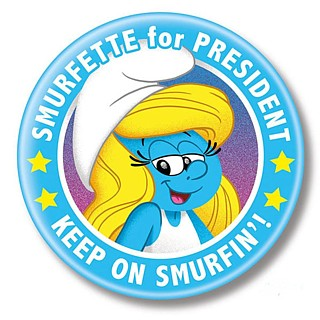 1980's Cartoon Collectibles - The Smurfs Smurfette for President Metal Pinback Button