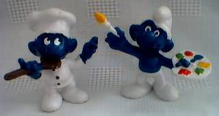 Smurf Collectibles - Smurf Figures Cooking Chef Painter Artist