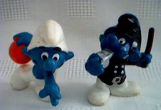 Smurf Collectibles - Smurf Figures Bowler Bowling Policeman Cop