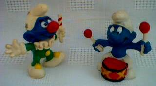 Smurf Collectibles - Smurf PVC Figures - Clown and Drummer