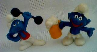 Smurf Collectibles - Smurf Weightlifter and Beer Drinker