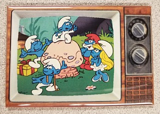 1980's Smurf Collectibles - Smurf Metal TV Magnet