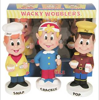 Kellogg's Collectibles - Rice Krispies Snap Crackle and Pop Bobble Head Nodder Dolls