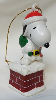 Snoopy and Peanuts Collectibles - Snoopy Christmas Whitmans Santa Chimney PVC Ornament