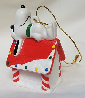 Snoopy and Peanuts Collectibles - Snoopy Christmas Whitmans Dog House PVC Ornament