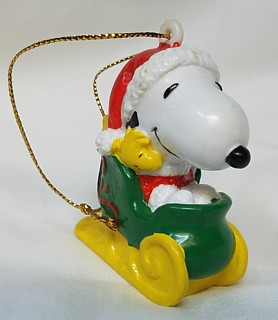 Snoopy and Peanuts Collectibles - Snoopy Christmas Whitmans Sleigh PVC Ornament