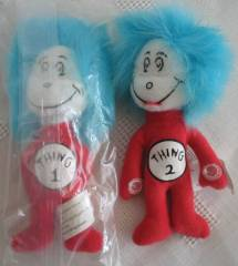 Cartoon Characters Collectibles - Doctor Seuss Cat in The Hat Thing 1 and Thing 2 Mini Beanies