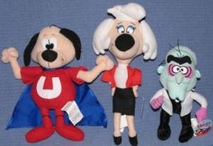 Vintage Cartoon Collectibles - Underdog, Sweet Polly Pure Bread, Simon Bar Sinister Plush Stuffed Animals