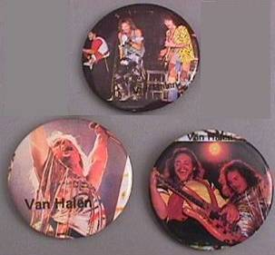 Rock and Roll Collectibles - Van Halen Pinback Buttons, David Lee Roth, Eddie Van Halen, Michael Anthony, Alex VanHalen